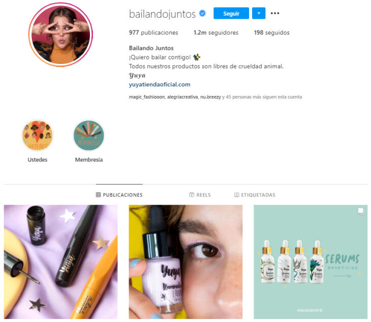 Instagram profile of Bailando Juntos, a Mexican brand of beauty products