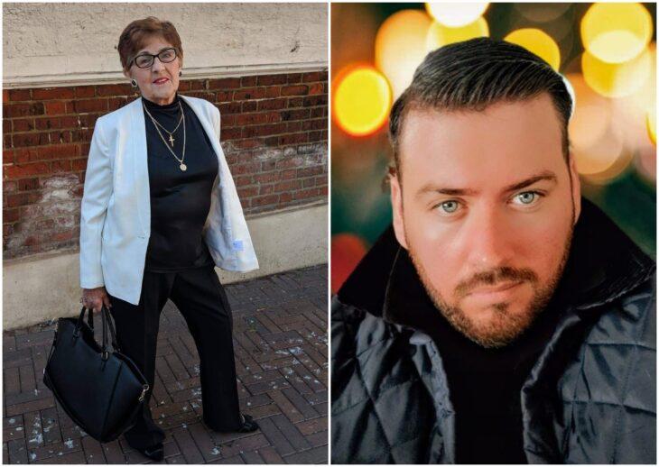 abuela y nieto en una sesión de fotos; Abuelita crea sincero perfil de Tinder a su nieto para que halle novia