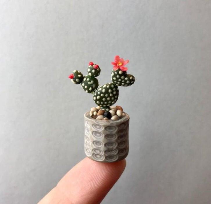 Cactus en miniatura, hecha por Astrid Wilk