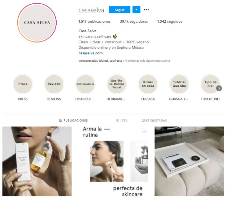 Instagram profile of Casa Selva, a Mexican brand of beauty products