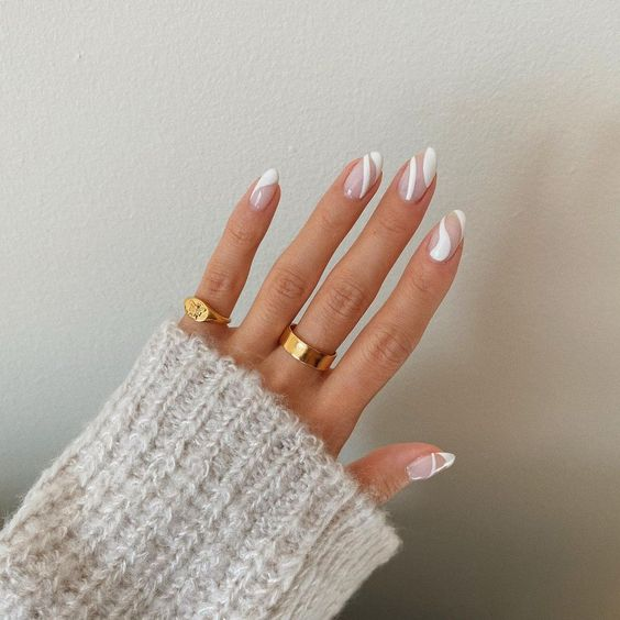 Oval nails with white lines