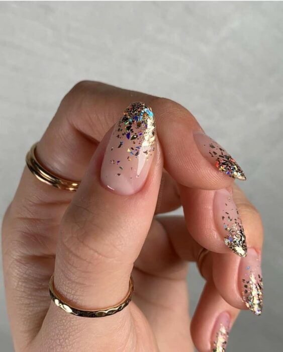 Clear acrylic nails with blue glitter tips