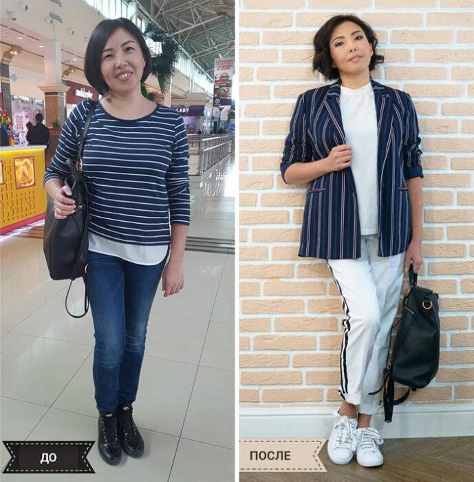 mujer con blusa y saco a rayas en azul marino y blanco en su cambio de imagen por la estilista Madi Bekdair