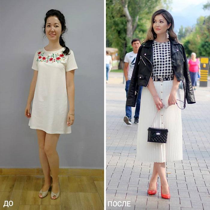 chica con vestido blanco a flores y una falda larga plizada en su cambio de imagen por la estilista Madi Bekdair