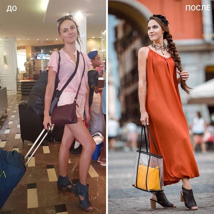 Chica con ropa sport y vestido largo en su cambio de imagen por la estilista Madi Bekdair