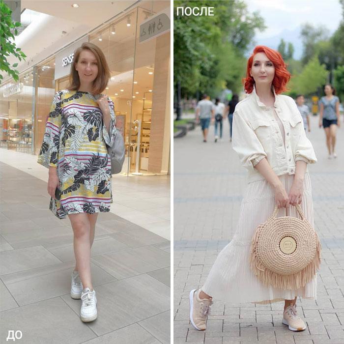 Chica con vestido a flores y blanco en su cambio de imagen por la estilista Madi Bekdair