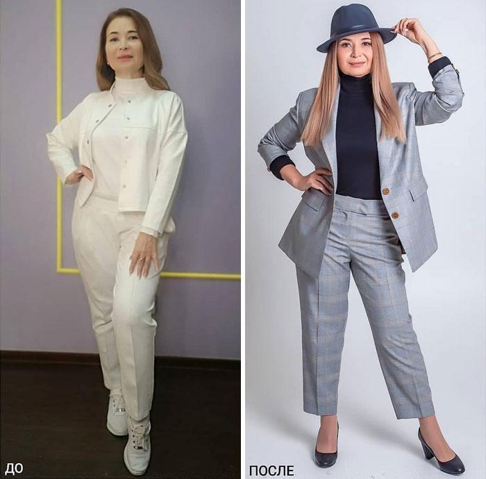 Mujer con traje sastre blanco y a cuadros en su cambio de imagen por la estilista Madi Bekdair