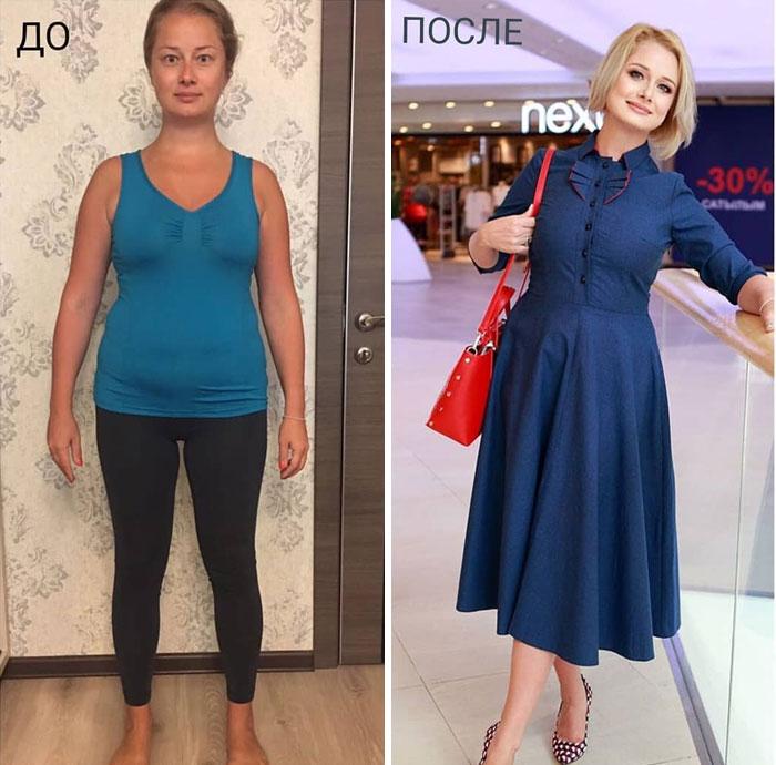 Mujer con jeans y vestido en su cambio de imagen por la estilista Madi Bekdair