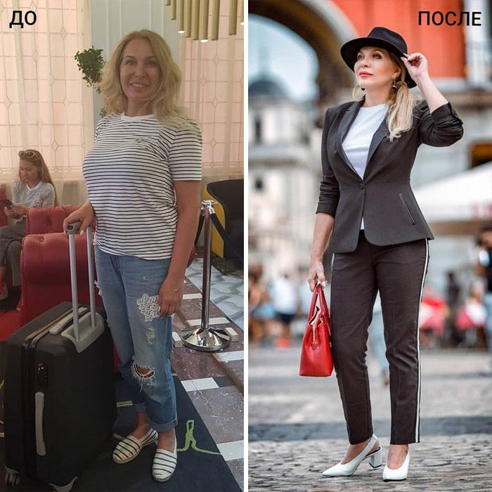 mujer con jeans rotos y con traje sastre en negro en su cambio de imagen por la estilista Madi Bekdair