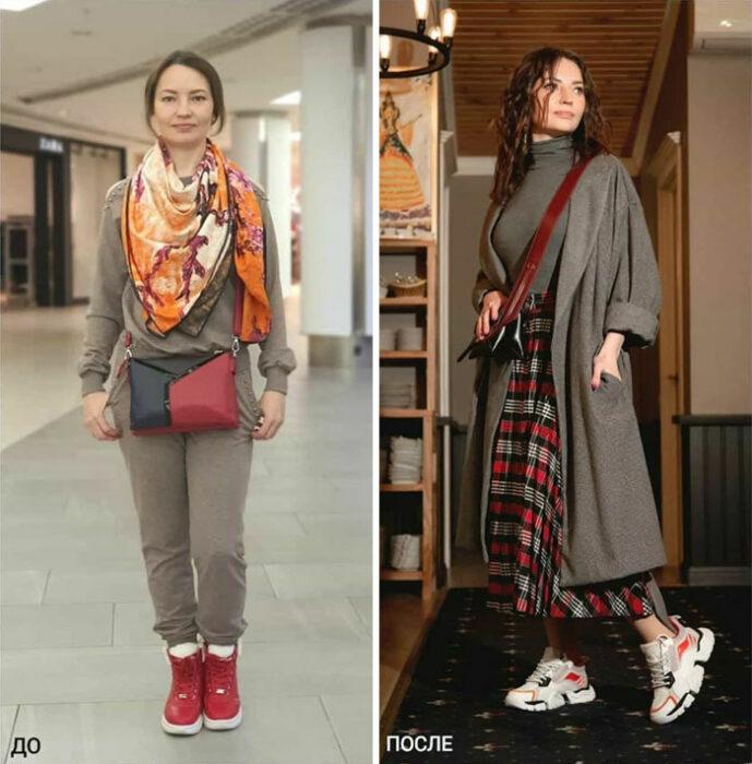 chica con pants deportivo y con falda larga a cuadros en su cambio de imagen por la estilista Madi Bekdair