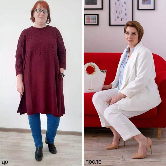 Mujer con jeans y blusa larga y con traje sastre en blanco en su cambio de imagen por la estilista Madi Bekdair