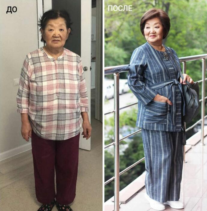 mujer con pijama y con traje sastre de dos piezas en azul en su cambio de imagen por la estilista Madi Bekdair
