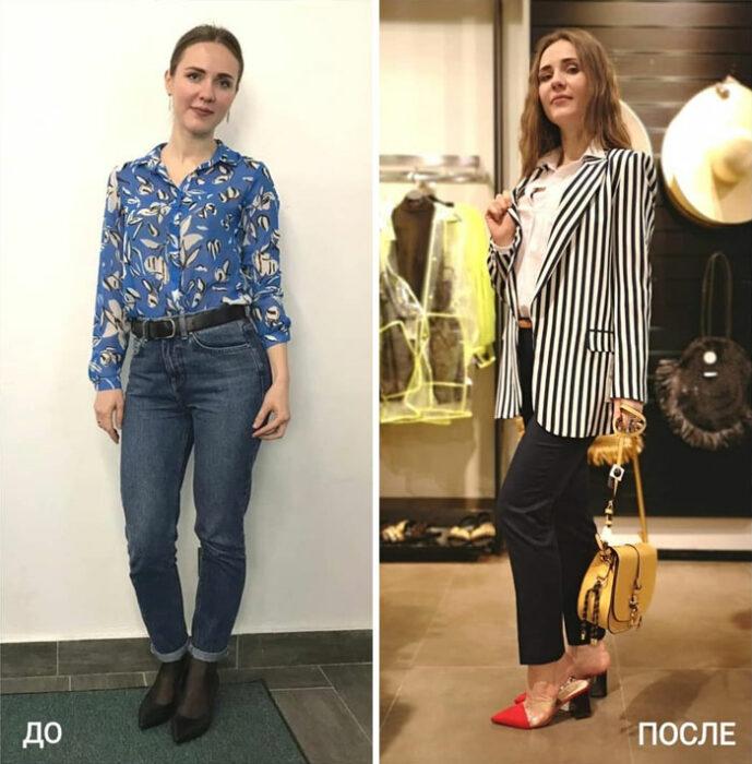 chica con jeans de mezclilla y con traje sastre de dos piezas en su cambio de imagen por la estilista Madi Bekdair