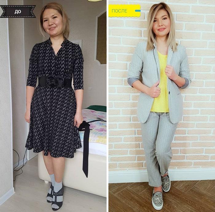 Chica con vestidonegro a rayas y con traje sastre de dos piezas en su cambio de imagen por la estilista Madi Bekdair