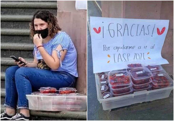 Anna Luara estudiante mexicana seleccionada por la NASA vendiendo gomitas