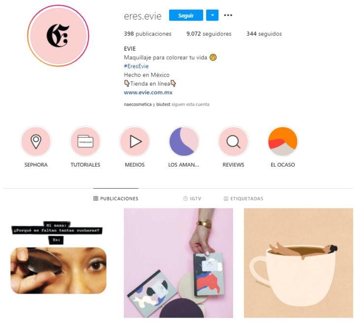 Perfil de Instagram de Evie, marca mexicana de productos de belleza
