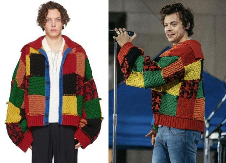 Harry Styles vistiendo suéter de parches de colores