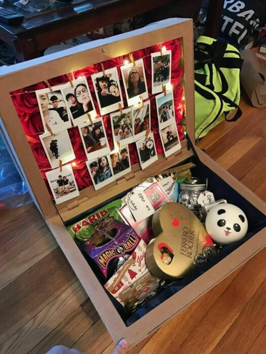 Caja sorpresa con fotos y dulces para San Valentín
