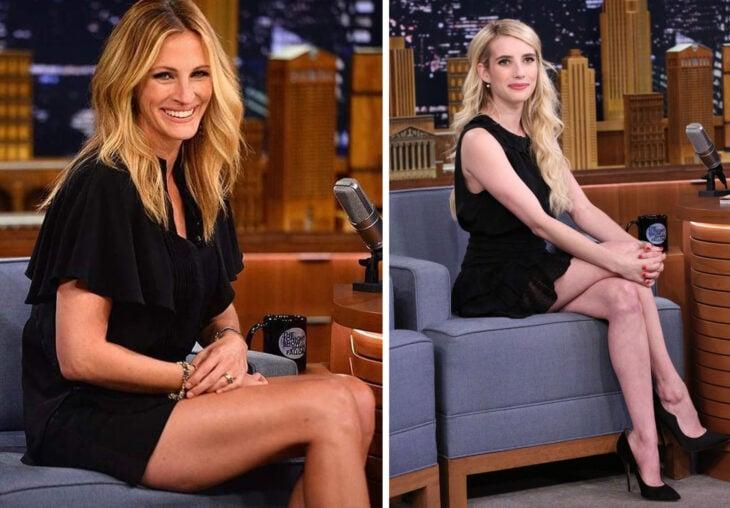 Del lado izquierdo Julia Roberts y Emma Roberts del lado derecho