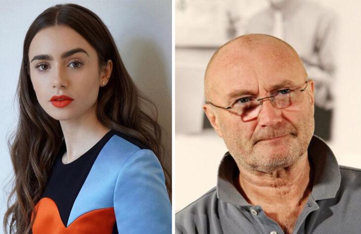 Del lado izquierdo Lilly Collins y Phil Collins del lado derecho