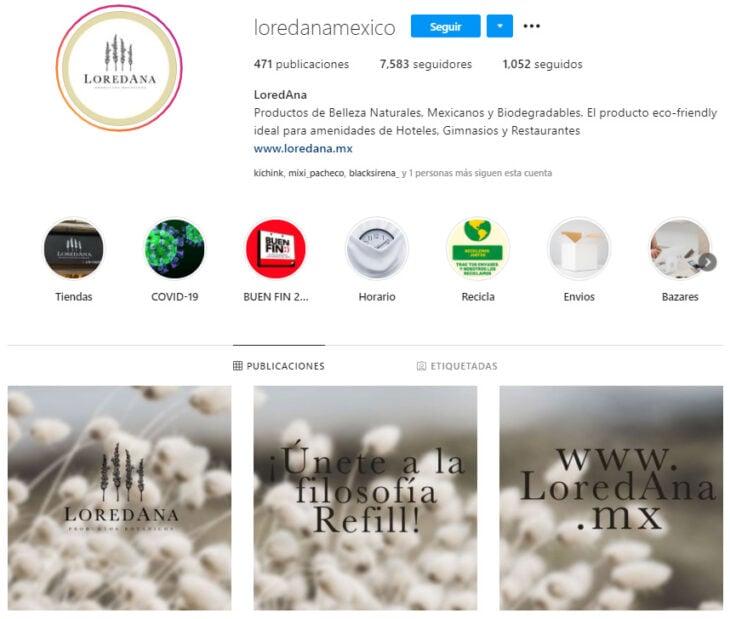 Perfil de Instagram de LoredAna, marca mexicana de productos de belleza, marca mexicana de productos de belleza