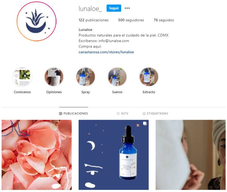 Instagram profile of Lunaloe, a Mexican brand of beauty products