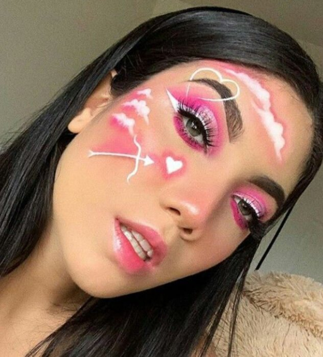Valentine-inspired makeup in pink and white colors