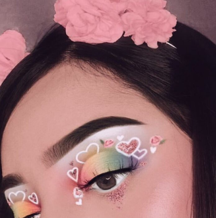 Valentine-inspired makeup in pastel and white colors, decorated with hearts