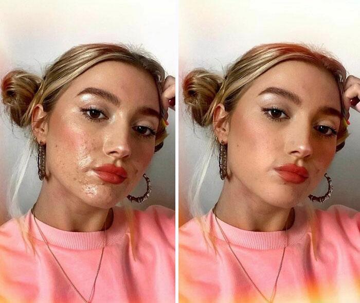 Antes y después del usar filtro de chica rubia con cabello sujetado en dos chonguitos vistiendo sudadera rosa