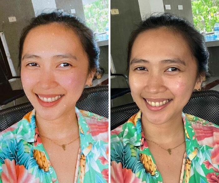 Chica asiática sonriendo con el cabello sujetado hacia atrás en un chongo y vistiendo una camisa verde floreada