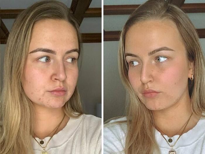 Antes y después con filtros de chica rubia con cabello largo lacio