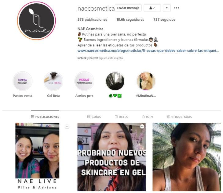Perfil de Instagram de NAE Cosmética, marca mexicana de productos de belleza