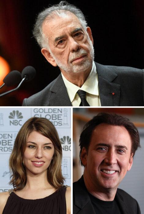 En la parte superior Francis Coppola, en la parte inferior izquierda Sofia Coppola y del lado inferior derecho Nicolas Cage