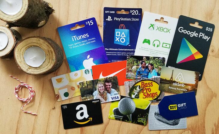 Tarjetas de regalo de diferentes marcas y tiendas