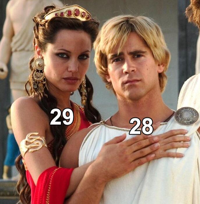 Angelina Jolie y Colin Farrell en Alejandro Magno