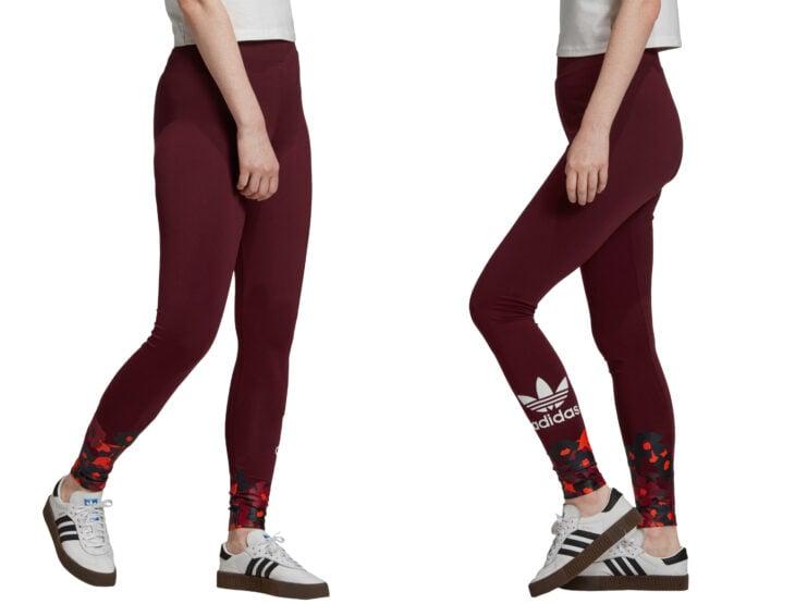 Ropa y moda cómoda para mujeres; chica usando leggings color rojo vino con estampado en los puños, tenis deportivos beige con suela y franjas café