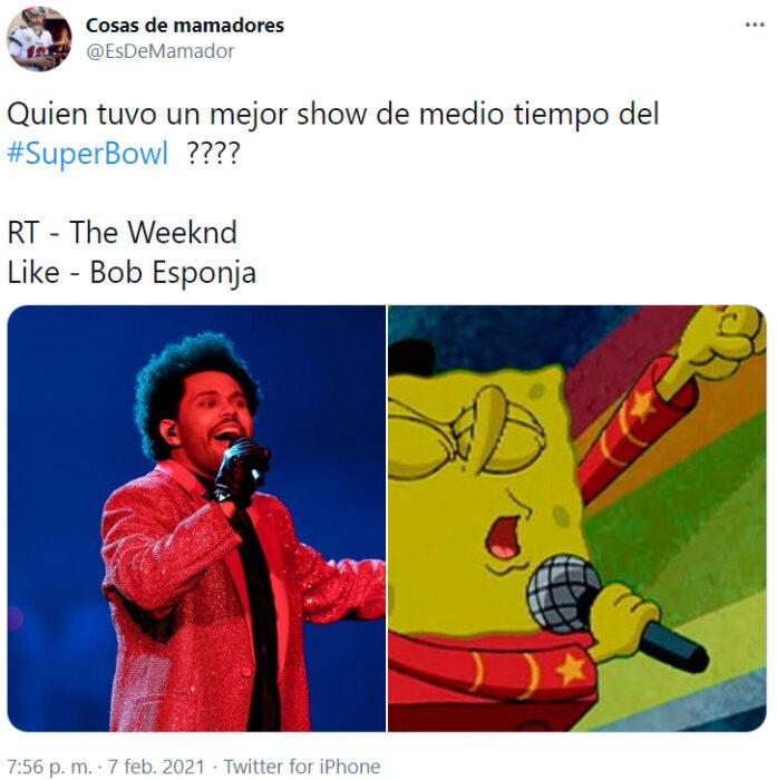 Screen Shot de Twitter con memes del medio tiempo del Super Bowl