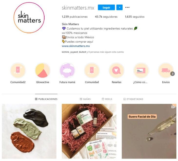 Perfil de Instagram de Skin Matters, marca mexicana de productos de belleza