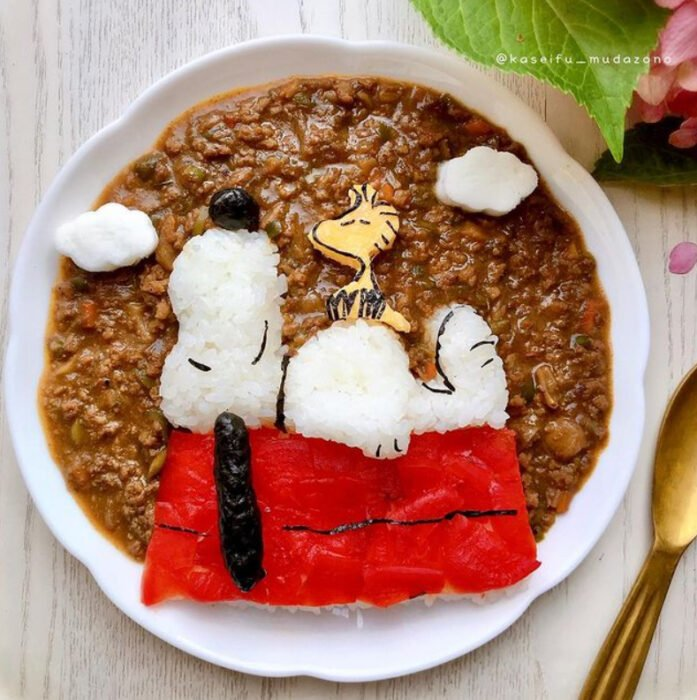 Platillo inspirado en Snoopy hecho por Kaseifu Mudazono