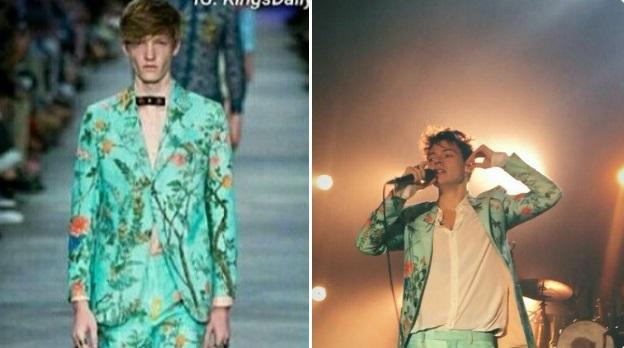 Harry Styles vistiendo camisa blanca con un saco y un pantalón verde acqua con estampado de flores
