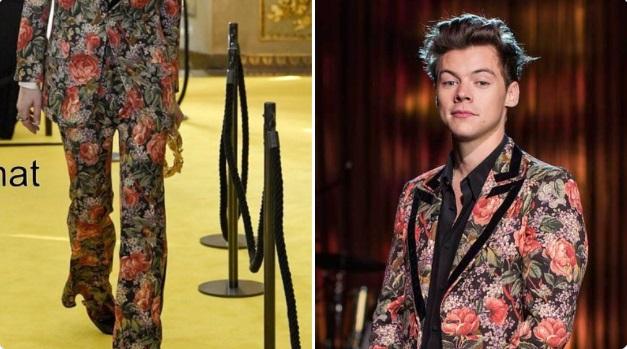 Harry Styles vistiendo saco y pantalón floreados en tonos rojos y negros