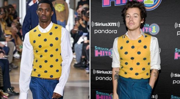 Harry Styles usando suéter amarillos con lunares azules y pantalón azul con rayas blancas