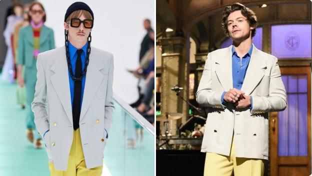 Harry Styles vistiendo un pantalón amarillo, camisa azul y saco beige