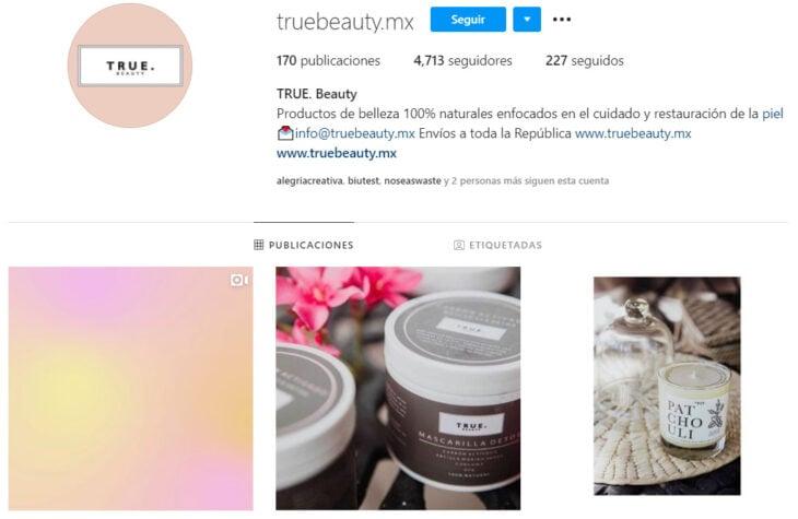 Perfil de Instagram de True. Beauty, marca mexicana de productos de belleza