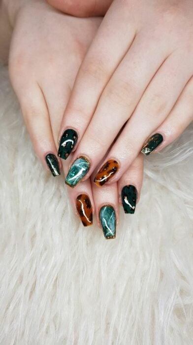 Tortoiseshell and opal manicure