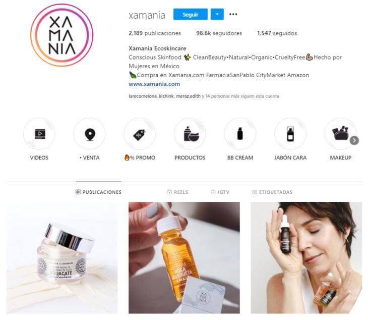 Perfil de Instagram de Xamania, marca mexicana de productos de belleza