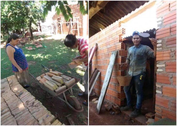 Guido Penayo junto a su familia construyendo su casa; Youtuber construye casa para su familia con las ganancias de sus vídeos de cocina
