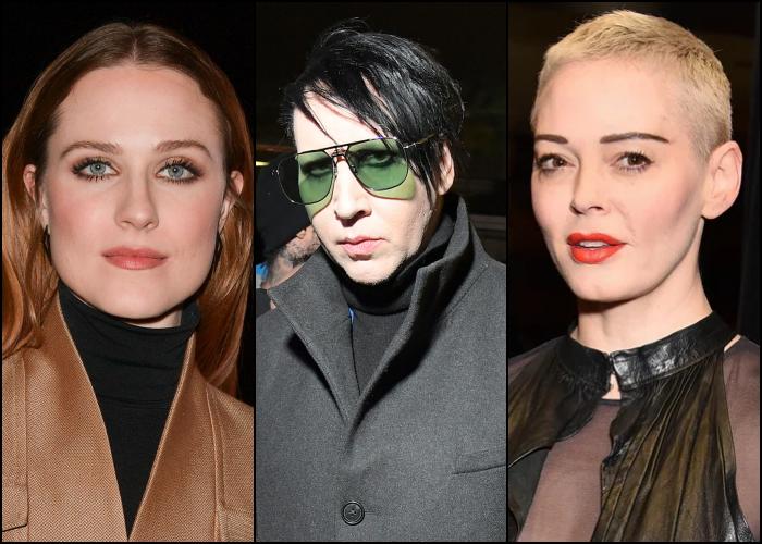 Evan Rachel Wood, Marilyn Manson y Rose McGowan