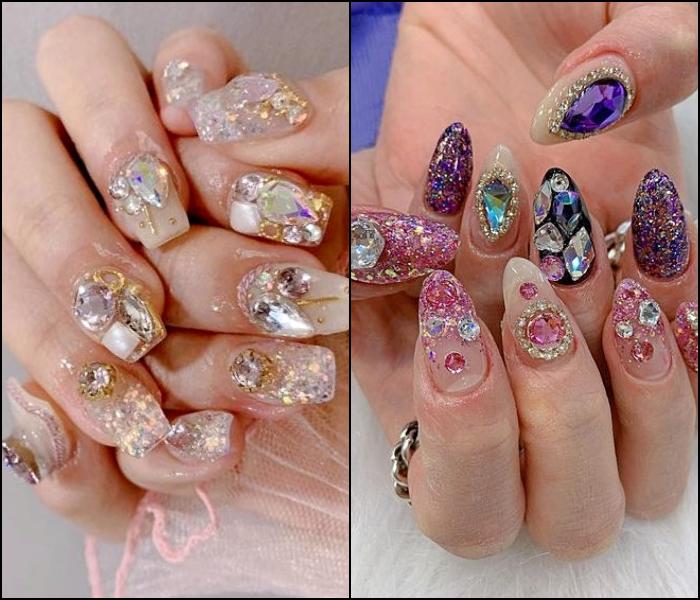 uñas manicura postizas con diseño exagerado de gemas multicolor, rojas, azules, diamantes, brillantina