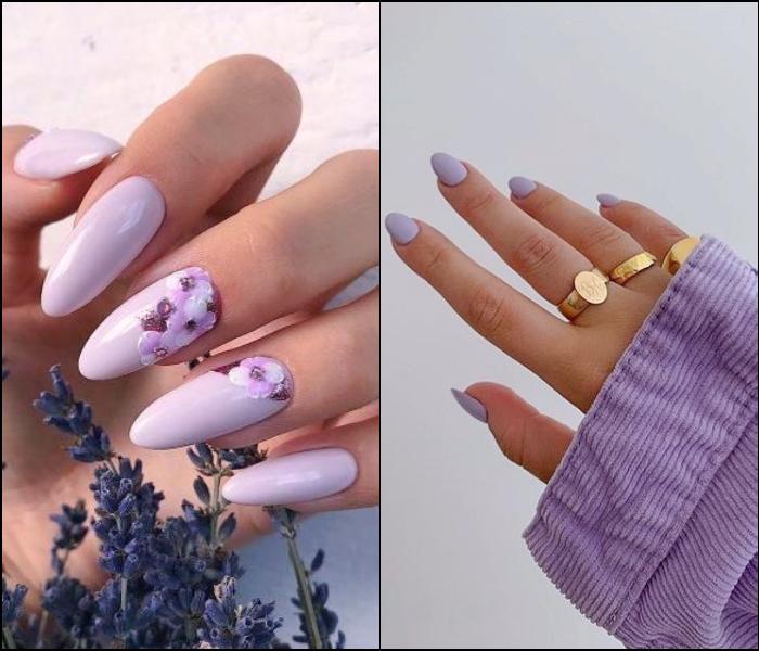 Manicura, uñas postizas color lila lavanda con diseño de flores